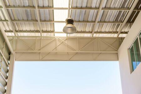 affixed: a lamp inside an factory.
