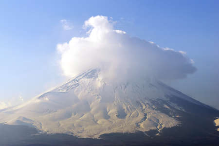 fuji mountain: Fuji mountain with show covered on Top, close up, Japan.