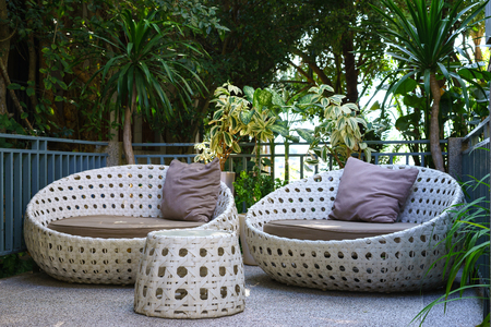 modern garden sofa or love seat in the home garden