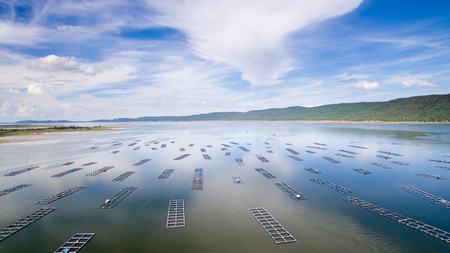 precast: Aerial view ,fish coop, Fish cages ,Khonkean, Thailand