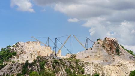 Limestone quarry, Open pit mine in Thailand. Stock Photo