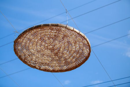 cocoon of silkworm hang on rolling round in the tray of the silkworm. with blue sky. Stock Photo