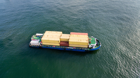Cargo ship from top.