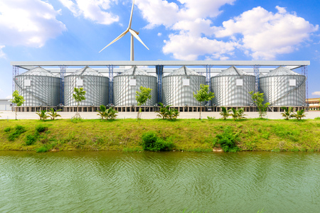 Silo structure for storing bulk dried seed factory for keep inventory. agricultur industry