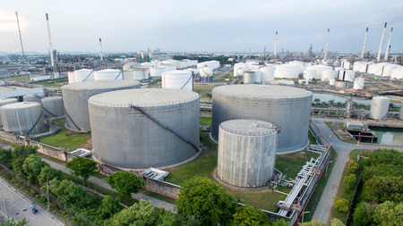aerial view of petrol industrial zone.