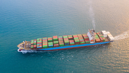 Large container ship at sea - Aerial image. Standard-Bild