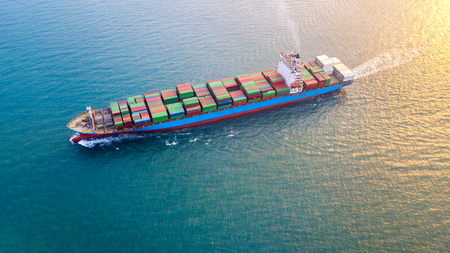 Large container ship at sea - Aerial image. Stok Fotoğraf
