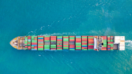 Large container ship at sea - Aerial image Stok Fotoğraf