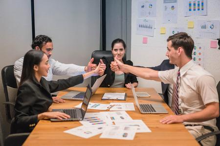 People business showing team spirit focus on hands