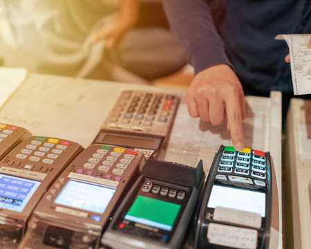 Credit card payment, buy services Stock Photo