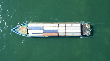 Aerial view container ship in import export and business logistic