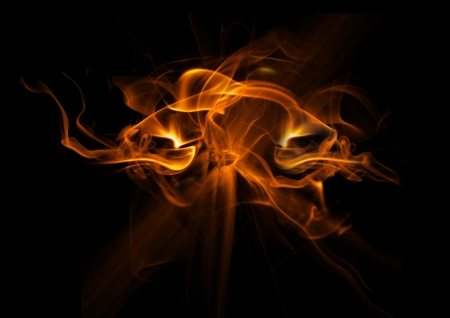 Fire flames on black background  photo