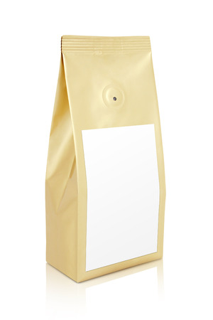 Gold bag of coffee with coffee sachet Archivio Fotografico