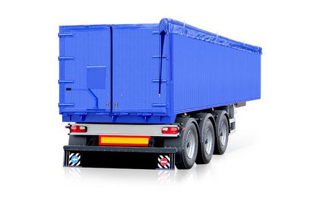 Blue trailer, truck Archivio Fotografico