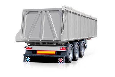 Steel , grey trailer, truck