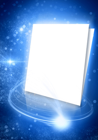 Blue background with white pages and rays of light  Glows space