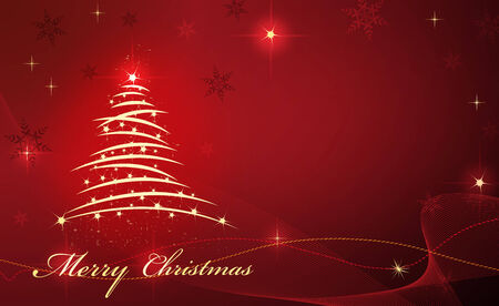 Christmas card with tree and star on red beautiful background Vettoriali