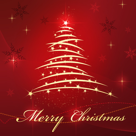 Christmas tree and star on red beautiful background Vector