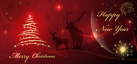 Christmas and happy new year card with tree and star on red beautiful background