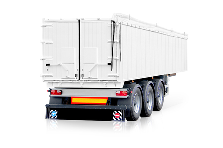 White trailer, truck