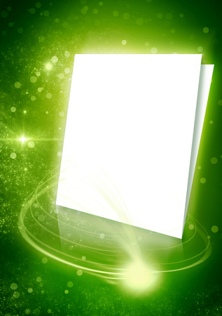 Green background with white pages paper and beautiful rays of light. Stars and glows space