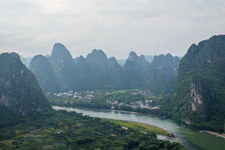 Li River and Karst Mountains Landscape, Guilin Sugarloaf, XingPing, China