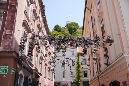 Shoe Tossing in Llubiana, Slovenia