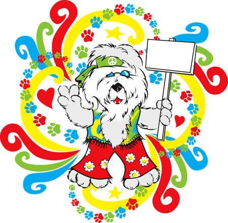 Hippie Sheep Dog Ilustrace