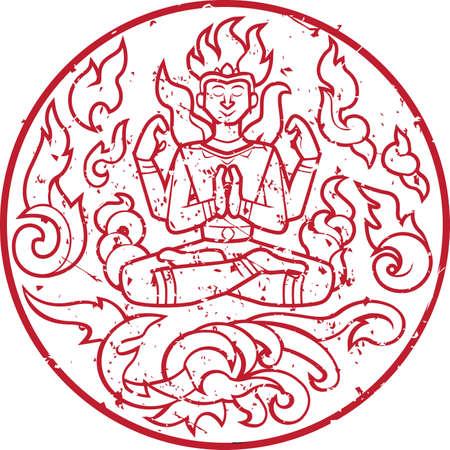 Circulair beeld van een vurig wezen dat mediteert