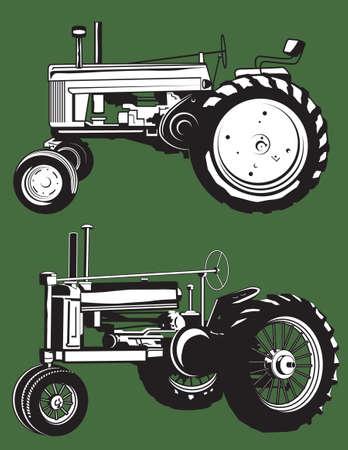 vintage: Vintage Tractors Illustration