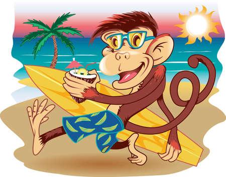 mono caricatura: Mono de playa