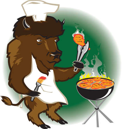 Bison Grill Chef Stock Vector - 9886574