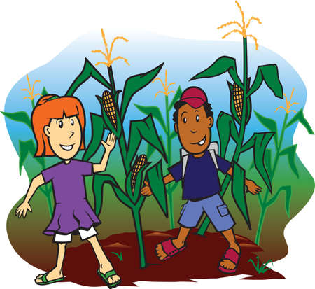 Corn Field Kids Stock Vector - 9886578