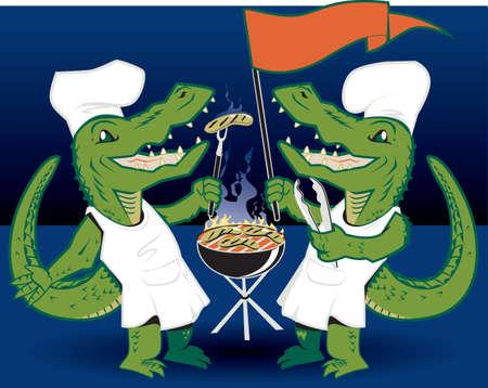 alligators: Grilling Tailgators Illustration