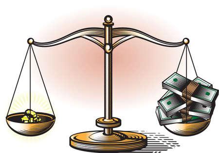現金対ゴールド  イラスト・ベクター素材