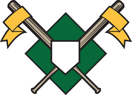 baseball diamond: Crossed Bats Emblem