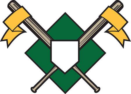 baseball diamond: Crossed Bats Emblem