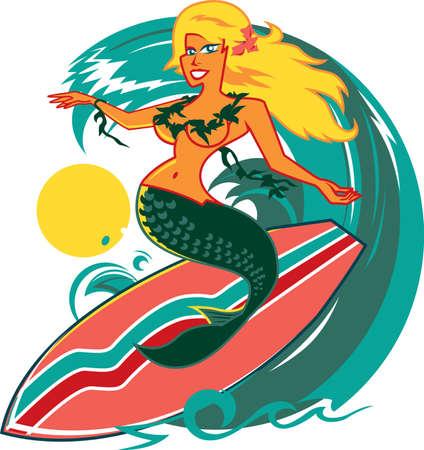 Surfing Mermaid Stock Vector - 9886616