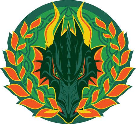 Fiery Dragon Emblem Stock Vector - 9886585