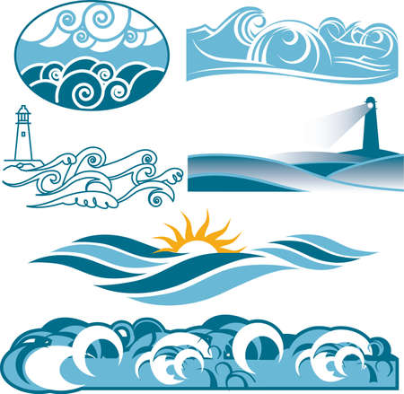 wave icon: Rolling Blue Seas Illustration