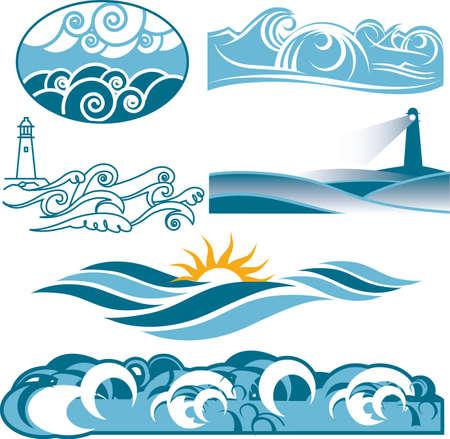 Rolling Blue Seas Vectores