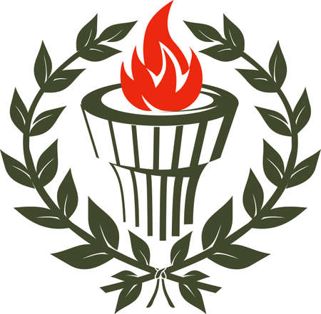 laurel leaf: Laurel Torch Emblem Illustration
