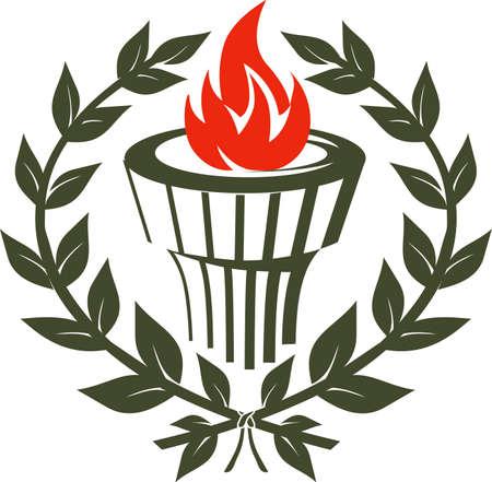 Laurel Torch Emblem Illustration