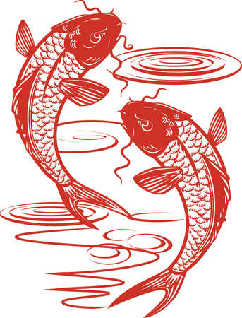 Twin Koi Fish Illustration