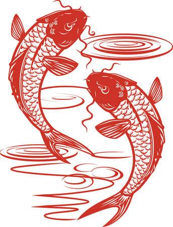 Twin Koi Fish Illustration