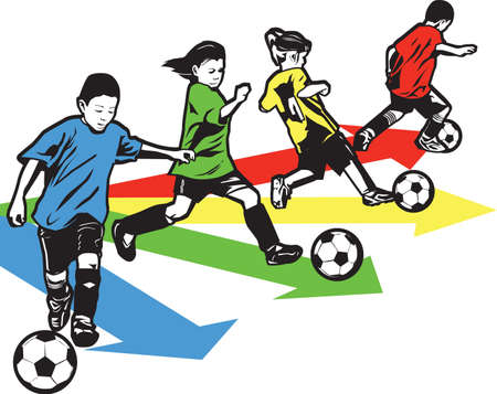futbol: Youth Soccer Drill Illustration