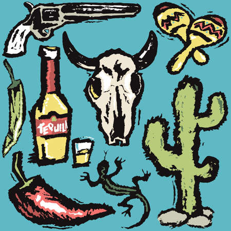 cow skull: Southwestern Grunge Art Illustration