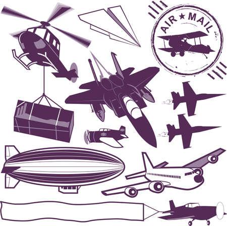 blimp: Colecci�n de aviones Vectores
