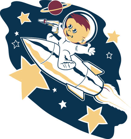astronaut in space: Astro Tot Illustration