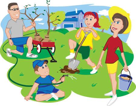 Arbor Day Family Vector